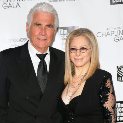 James Brolin in a black suit with Barbra Streisand in a black dress