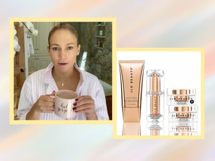 Image of JLo and her JLo Beauty products.
