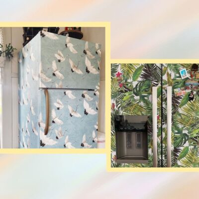 Image of two wallpapered fridges.