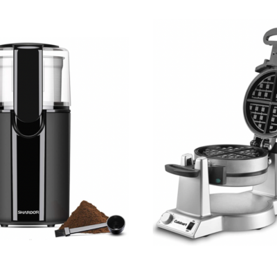 Amazon coffee grinder and waffle maker.