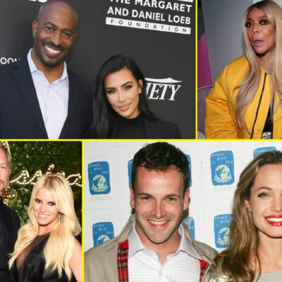 Collage featuring Kim Kardashian with Van Jones, Wendy William, Jessica Simpson with Eric Johnson, and Jonny Lee Miller with Angelina Jolie.