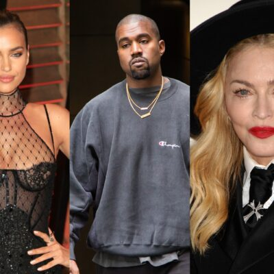 Side by side images of Irina Shayk, Kanye West, and Madonna.