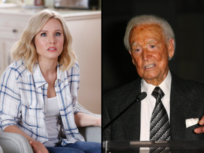 Side by side images of Kristen Bell and Bob Baker.
