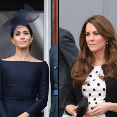 Side by side images of Meghan Markle and Kate Middleton.