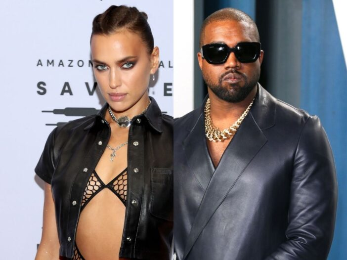 side by side photos of Irina Shayk and Kanye West in black outfits