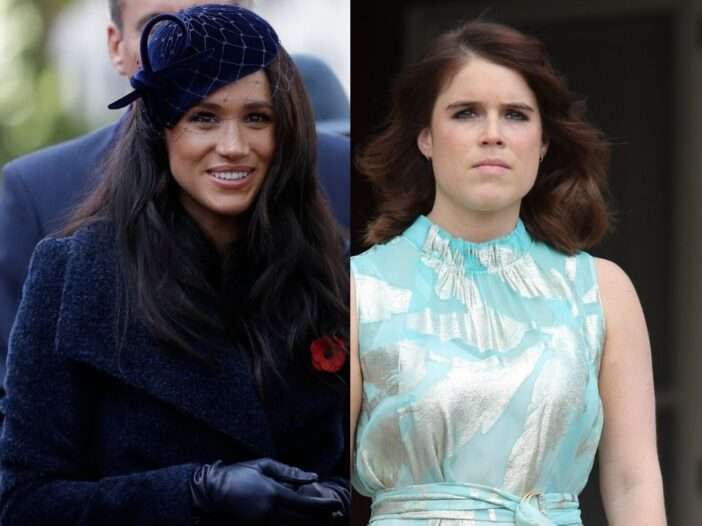 side by side photos of Meghan Markle in a blue jacket and Princess Eugenie in a silver and green dress