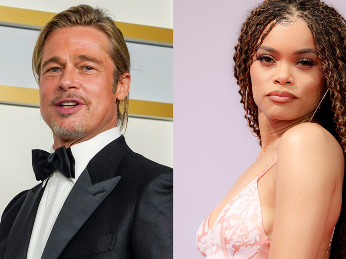 Side-by-side photos, Brad Pitt on the left, Andra Day on the right.