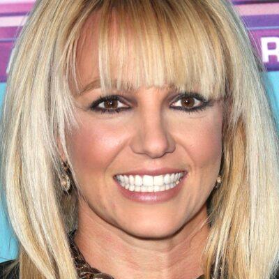 Britney Spears wears a black dress to a premiere