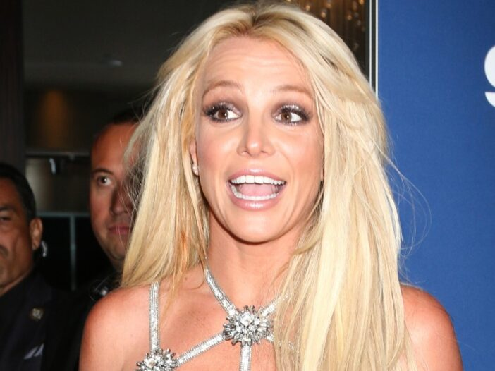 Britney Spears smile animatedly while wearing a silver dress on the red carpet
