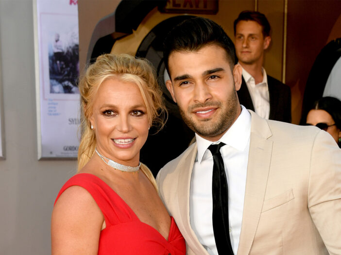 Britney Spears on the left, Sam Asghari on the right