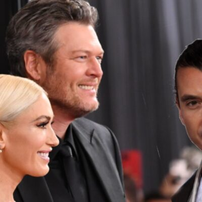 Gwen Stefani and Blake Shelton smile for the cameras on the red carpet. In a separate photo, Gavin Rossdale wears a dark jacket over a whit t shirt
