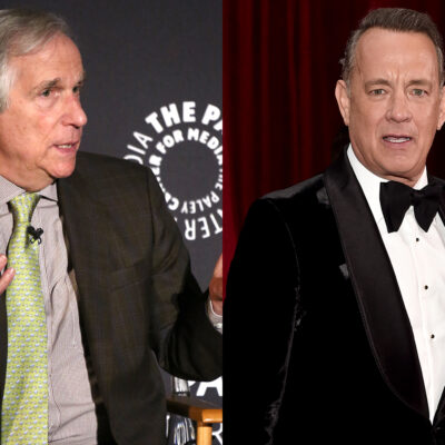 Side by side photos - Henry Winkler on the left, Tom Hanks on the right