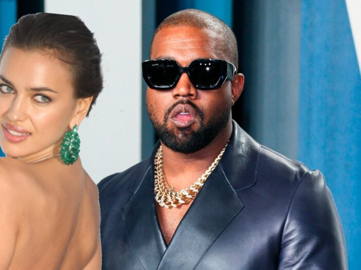 A cutout of Irina Shayk wearing a backless gown laid over an image of Kanye West wearing a black leather suit