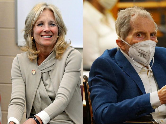 Side-by-side photos, Jill Biden on left, Robert Durst on the right, in a mask.
