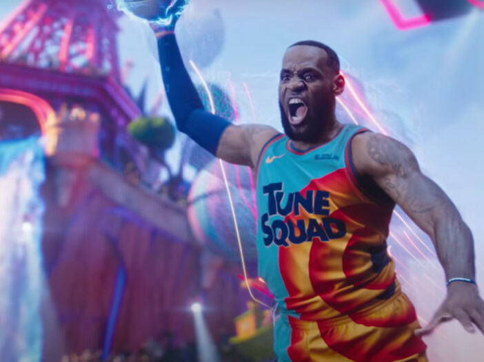 Screen shot from Space Jam 2, LeBron James dunking.