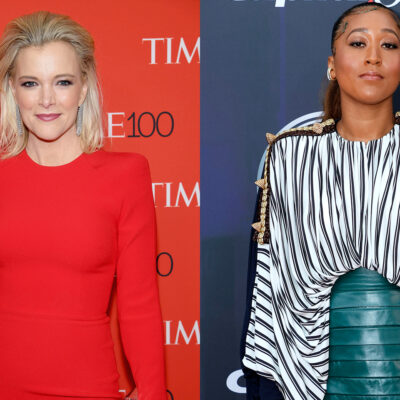 Side-by-side photos. Megyn Kelly in red on the left, Naomi Osaka in zebra print on the right.