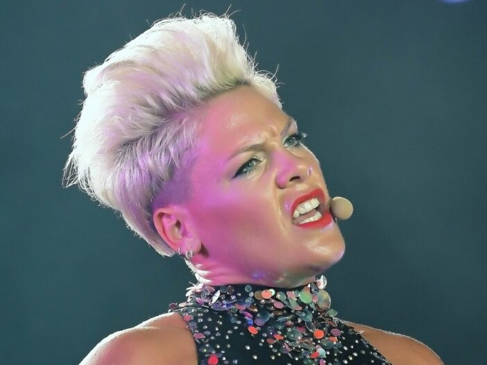 Pink sings while wearing a glittering costume onstage