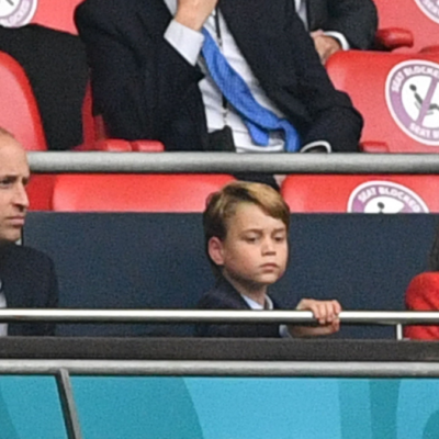 Prince William, Prince George, and Kate Middleton watch the England vs Italy soccer game