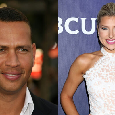 (s_bukley/Kathy Hutchins/Shutterstock.com) Alex Rodriguez wearing suit and Melanie Collins smiling in white dress