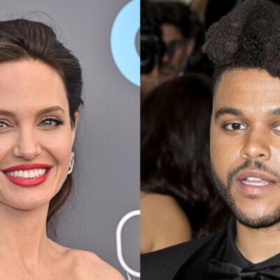 (DFree/Ovidiu Hrubaru/Shutterstock.com) Angelina Jolie smiling in white dress, The Weeknd wearing a black tuxedo