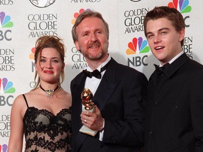 (Featureflash Photo Agency/Shutterstock.com) Kate Winslet, James Cameron, and Leonardo DiCaprio at 1998 Golden Globe Awards