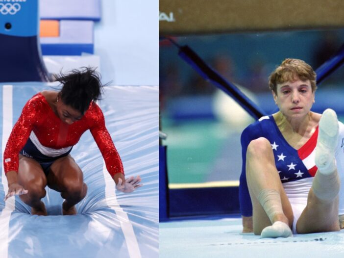 (Left) Simone Biles wobbles during her vault routine at the 2021 Tokyo Olympics. (Right) Kerri Strug holds heer injured foot up after her 1996 Atlanta Olympics vault routine