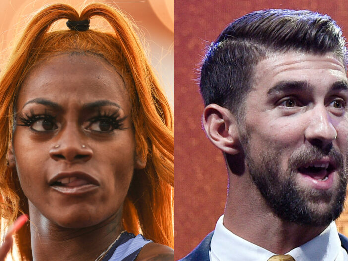 Sha'Carri Richardson on the left, Michael Phelps in a separate photo on the right.