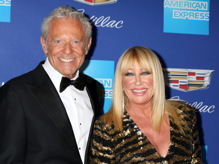 Suzanne Somers standing with her husband, Alan Hamel