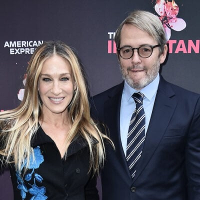 Sarah Jessica Parker in a black outfit with Matthew Broderick in a navy suit