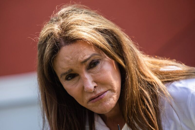 close up of Caitlyn Jenner in a white polo