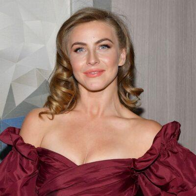 Julianne Hough in a maroon dress