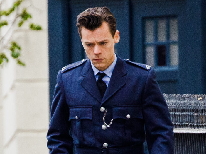 Harry Styles in costume on the set of My Policeman