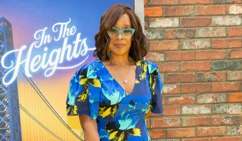 Gayle King in a blue dress