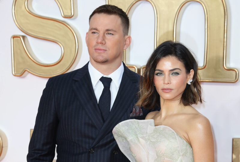 Channing Tatum in a suit with Jenna Dewan in a white dress