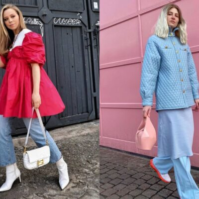 Image of influencers wearing dress over pants trend.