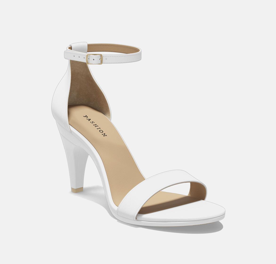 White Leather Stiletto 4 Inch