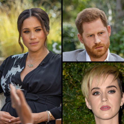 Collage of Meghan Markle, Prince Harry, and Katy Perry.