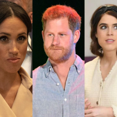 Side by side images of Meghan Markle, Prince Harry, and Princess Eugenie.