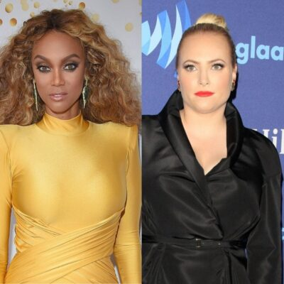 Side by side photos of Tyra Banks in a yellow dress and Meghan McCain in a black coat