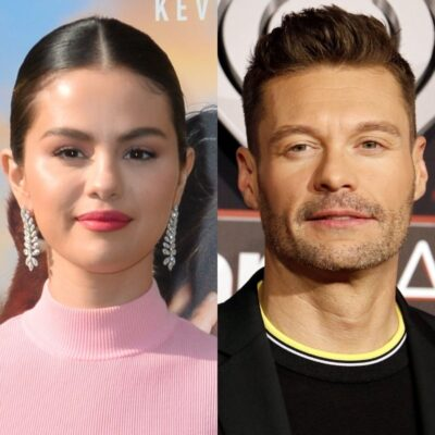 side by side photos of Selena Gomez and Ryan Seacrest