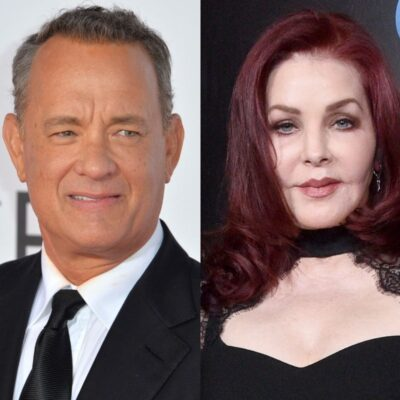 side by side photos of Tom Hanks in a suit and Priscilla Presley in a sheer black dress