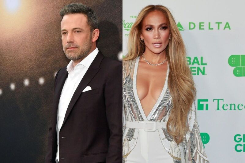 side by side photos of Ben Affleck in a suit and Jennifer Lopez in a white dress