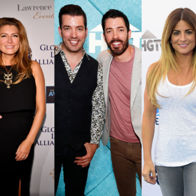 Side by side images of Genevieve Gorder, Jonathan and Drew Scott, and Alison Victoria/