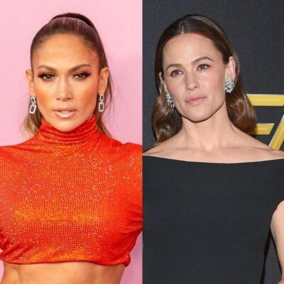 side by side photos of Jennifer Lopez in orange and Jennifer Garner in black