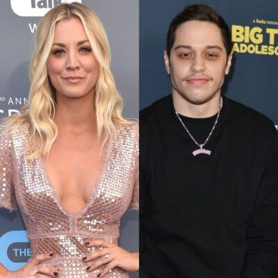 side by side photos of Kaley Cuoco in a silver dress and Pete Davidson in a black shirt