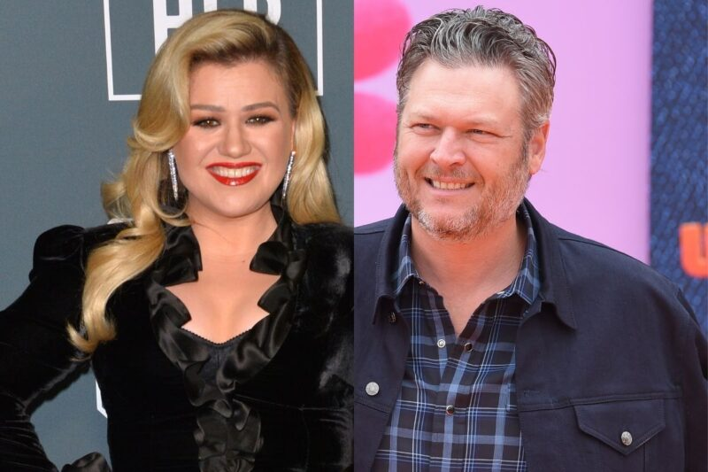 side by side photos of Blake Shelton and Kelly Clarkson smiling