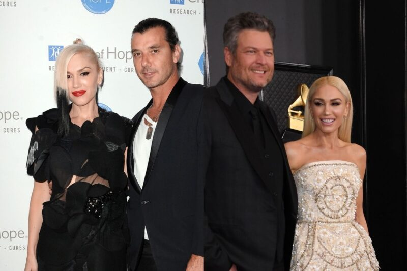 side by side photos of Gwen Stefani with Gavin Rossdale and Blake Shelton respectively