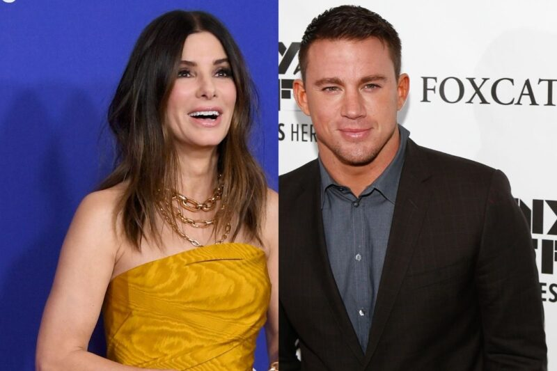 side by side photos of Channing Tatum and Sandra Bullock