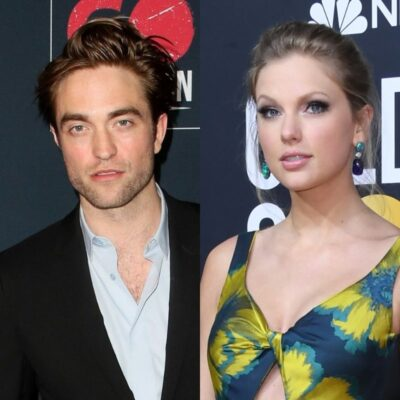 side by side photos of Robert Pattinson in a suit and Taylor Swift in a yellow and blue dress