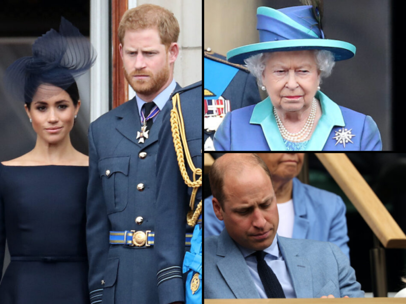 Collage of Meghan Markle with Prince Harry, Queen Elizabeth, and Prince William.